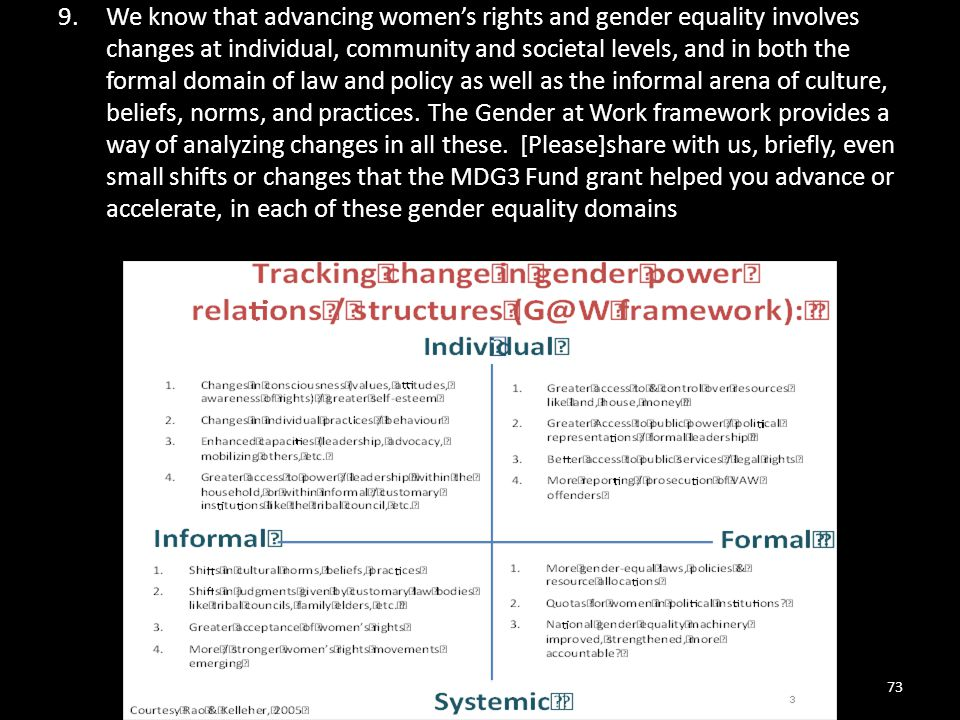 We know that advancing women's rights and gender equality involves changes at individual, community and societal levels, and in both the formal domain of law and policy as well as the informal arena of culture, beliefs, norms, and practices. The Gender at Work framework provides a way of analyzing changes in all these. [Please]share with us, briefly, even small shifts or changes that the MDG3 Fund grant helped you advance or accelerate, in each of these gender equality domains